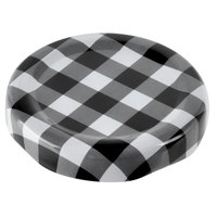 Acopa Black Plaid Milk Bottle Lid - 12/Case
