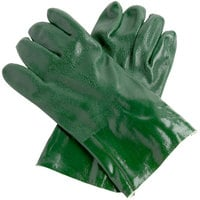Green Etched Supported 12 inch PVC Gloves with Jersey Lining - Large - Pair   - 12/Pack
