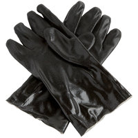 Black Sandpaper Supported 12 inch PVC Gloves with Jersey Lining - Large - Pair - 12/Pack
