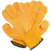 Orange Polyester / Nylon / Acrylic Grip Gloves with Two-Sided Criss-Cross PVC Coating - Medium - Pair - 12/Pack