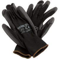 Black Polyester Gloves with Black Polyurethane Palm Coating - Medium - Pair - 12/Pack