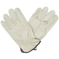Economy Grain Pigskin Driver's Gloves with Keystone Thumbs- Large - Pair