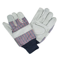Men's Striped Canvas Gloves with Select Shoulder Split Leather Palm Coatings - Large - Pair
