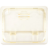Cambro 20HPLN150 H-Pan™ 1/2 Size Amber High Heat FlipLid with Spoon Notch