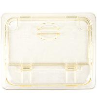 Cambro 20HPLN150 H-Pan 1/2 Size Amber High Heat FlipLid with Spoon Notch