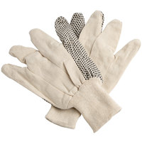 Men's Medium Weight Cotton Canvas Gloves with Black PVC Dots Palm Coating - Large - Pair - 12/Pack
