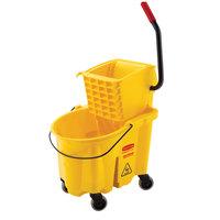 Rubbermaid FG748000YEL WaveBrake® 26 Qt. Yellow Mop Bucket with Side Press Wringer