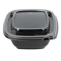 Sabert C95012TR250 Bowl2 12 oz. Black PETE Square Tamper Evident Bowl with Lid - 250/Case