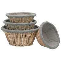 Matfer Bourgeat 118511 9 1/2 inch Linen Lined Wicker Round Banneton Proofing Basket