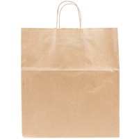 Duro Super Royal Natural Kraft Paper Shopping Bag with Handles 14 inch x 10 inch x 15 3/4 inch   - 200/Bundle