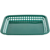 Tablecraft 1079FG Mas Grande 11 3/4 inch x 8 1/2 inch x 1 1/2 inch Forest Green Rectangular Polypropylene Fast Food Basket - 12/Pack