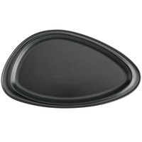 Hall China by Steelite International HL10490AFCA Foundry 16 1/8 inch x 9 1/4 inch Black Matte China Geo Platter - 6/Case