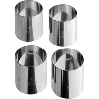 Matfer Bourgeat 375351 2 inch x 2 inch Stainless Steel Round Cake / Food Ring Mold - 4/Pack