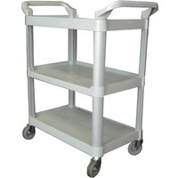 40 inch x 19 3/4 inch x 37 1/2 inch Gray Three Shelf Utility Cart / Bus Cart