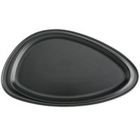 Hall China HL10470AFCA Foundry 12 1/16 inch x 6 7/8 inch Black Matte China Geo Platter - 12/Case