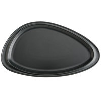 Hall China 10480AFCA Foundry 14 3/16 inch x 8 1/4 inch Black Matte China Geo Platter - 6/Case