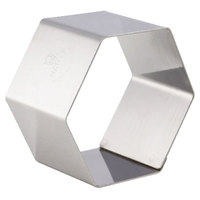 Matfer Bourgeat 37601 2 3/8 inch x 2 3/8 inch Stainless Steel Hexagon Cake Ring / Ring Mold - 4/Pack