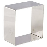 Matfer Bourgeat 376001 2 1/4 inch x 2 1/4 inch Stainless Steel Square Cake Ring / Ring Mold - 4/Pack