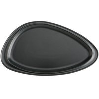 Hall China 10460AFCA Foundry 9 inch x 5 3/8 inch Black Matte China Geo Platter - 24/Case