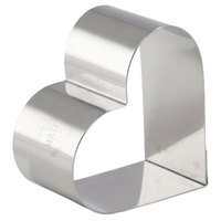 Matfer Bourgeat 376005 2 3/4 inch x 2 3/16 inch Stainless Steel Heart Cake Ring / Ring Mold - 4/Pack