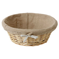 Matfer Bourgeat 573476 8 3/4 inch Round Linen-Lined Wicker Basket