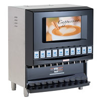 Cecilware RAD10A-B Radiance Black Powdered Cappuccino Dispenser with LCD Video Merchandising and 10 Hoppers - 120V
