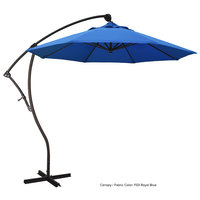 California Umbrella BA908 OLEFIN Bayside 9' Crank Lift Cantilever Umbrella with 2 inch Aluminum Pole - Olefin Canopy