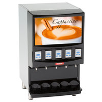 Cecilware RAD5BW-B Radiance Black Powdered Cappuccino Dispenser with Backlit Merchandising, Wifi Connection, and 5 Hoppers - 120V