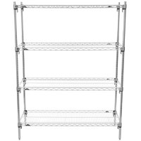 Metro A356C Super Adjustable Super Erecta 4-Shelf Chrome Wire Stationary Starter Shelving Unit - 18 inch x 48 inch x 63 inch
