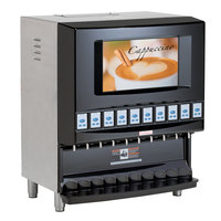 Cecilware RAD10B-B Radiance Black Powdered Cappuccino Dispenser with Backlit Merchandising and 10 Hoppers - 120V