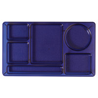 Cambro 915CW431 Camwear (2 x 2) 8 3/4 inch x 15 inch Translucent Blue Six Compartment Serving Tray - 24/Case