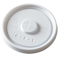 GET LID-22091-W Disposable White Plastic Lid with Straw Slot for 3 1/4 inch Diameter Tumblers - 1000/Case