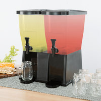Choice 6 Gallon Black Double Stand Beverage / Juice Dispenser
