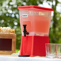 Choice 3 Gallon Red Slim Beverage / Juice Dispenser