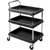 Metro BC2636-3DBL Black Utility Cart with Three Deep Ledge Shelves 38 3/4 inch x 27 inch