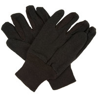 Men's Standard Weight Brown Polyester / Cotton Jersey Gloves with Mini-PVC Dots Palm Coating - Large - Pair - 12/Pack