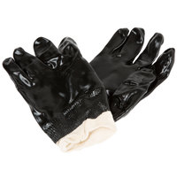 Black Smooth Supported PVC Gloves with Interlock Lining - Large - Pair - 12/Pack