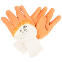 Ruffian Men's Orange Crinkle Supported Latex Gloves with Jersey Lining - Large - Pair - 12/Pack