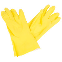 Premium 18-Mil Yellow Embossed Unsupported Latex Gloves with Cotton Flock Lining - Small - Pair - 12/Pack