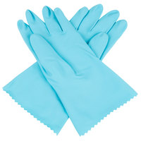 Premium 18-Mil Blue Embossed Unsupported Latex Gloves with Cotton Flock Lining - Large - Pair - 12/Pack