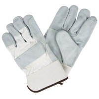 White Canvas Work Gloves with Side Split Leather Palm Coating and 2 1/2 inch Rubber Cuffs - Large - Pair