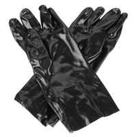 Black Smooth Supported 14 inch PVC Gloves with Interlock Lining - Large - Pair - 12/Pack