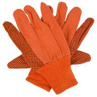 Hi-Vis Orange Cotton Canvas Work Gloves with Black PVC Dots Coating - Large - Pair - 12/Pack