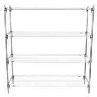 Metro A366C Super Adjustable Chrome 4-Shelf Stationary Shelving Unit - 18 inch x 60 inch x 63 inch