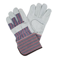 Striped Canvas Work Gloves with Shoulder Leather Palm Coating and 4 1/2 inch Rubber Cuffs - Large - Pair