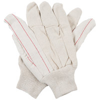 Natural Nap-Out Polyester / Cotton Double Palm Work Gloves with Knit Wrist - Large - Pair - 12/Pack