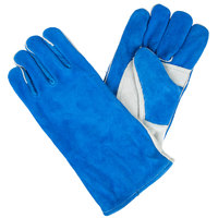 Men's Blue / White Select Shoulder Split Leather Welder's Gloves with Cotton Sock Lining - Large - Pair