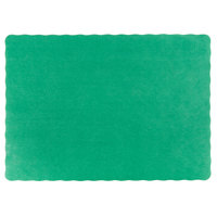 10 inch x 14 inch Green Colored Paper Placemat with Scalloped Edge   - 1000/Case