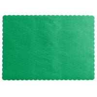 Choice 10 inch x 14 inch Green Colored Paper Placemat with Scalloped Edge   - 1000/Case