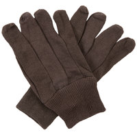 Women's Medium Weight Brown Cotton Jersey Gloves - Large - Pair - 12/Pack